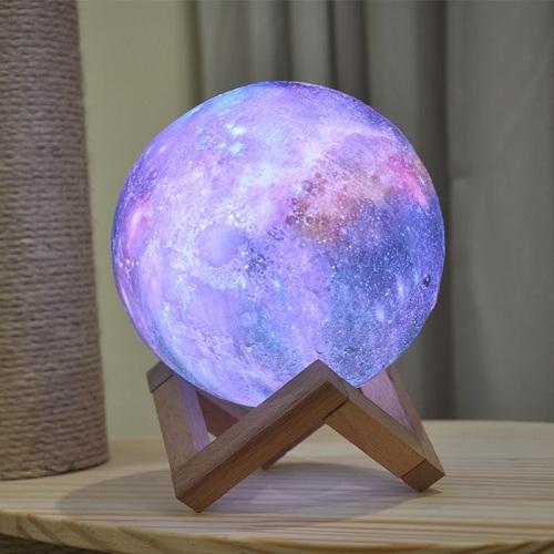 Galaxy Print Moon Lamp