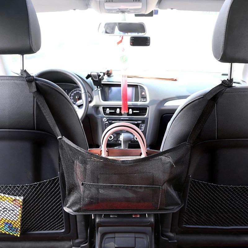 Wollaston Verbesserte Leder Car Net Pocket Handtaschenhalter Multifunktions-Aufh/ängetasche,Upgraded Leather Car Net Pocket Handbag Holder Multifunction Hanging Storage Bag